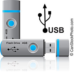 usb pen drive  - illustration of blue usb pen drive memory
