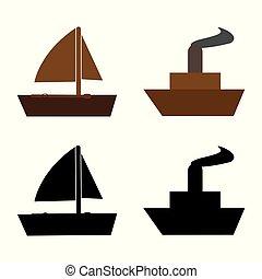 Illustration of boat icons on white background