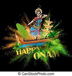 Boat Race of Kerla with bharatanatyam dancer on Onam