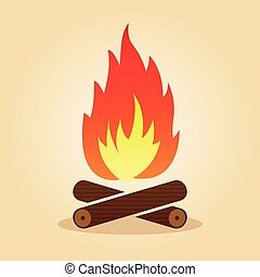 bonfire in flat design concept
