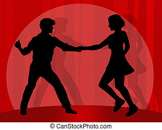 illustration of couple dancing boogie woogie