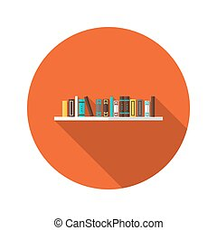Book Shelve flat icon - Illustration of Book Shelve flat...