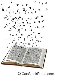 book with flying text - illustration of book with flying...