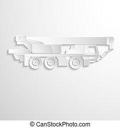 Illustration of boom lift on heavy truck.