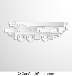 Illustration of boom lift on heavy truck.