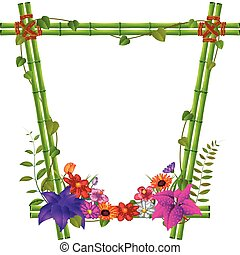 border templates with bamboo and flowers