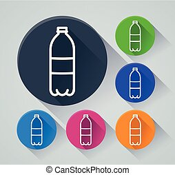 bottle circle icons with shadow