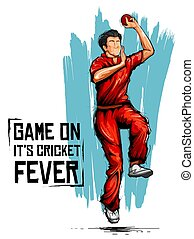 Bowler bowling in cricket championship sports - illustration...