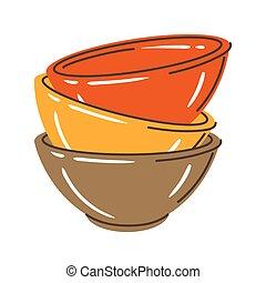 Illustration of bowls stack. Stylized kitchen and restaurant utensil.