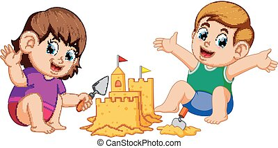 boy and girl making a big sandcastle at beach