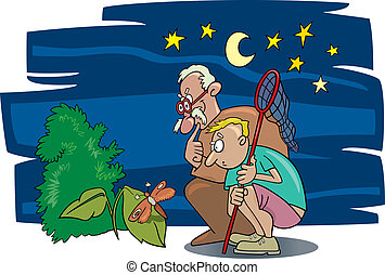 illustration of boy and his grandfather looking at moth