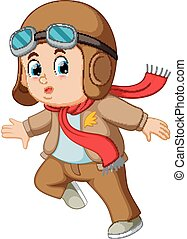 boy in a pilot hat and scarf - illustration of boy in a...