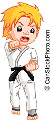 Boy Karate Player cartoon