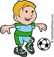 Illustration of boy playing soccer