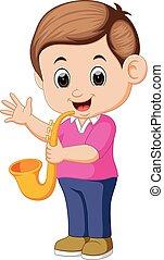 boy plays saxophone