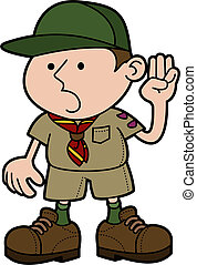 Illustration of boy scout giving pledge