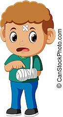 boy showing a broken arm - illustration of boy showing a ...