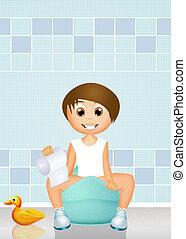 boy sitting on the potty