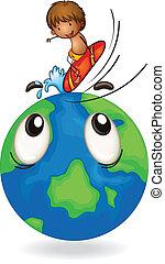 boy surfing on earth globe - illustration of boy surfing on...