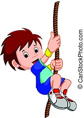 boy swinging on a rope