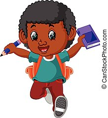 Boy with backpacks cartoon