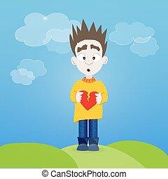 Boy with broken heart in his hands outdoor
