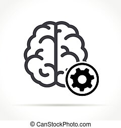 brain with gear icon on white background