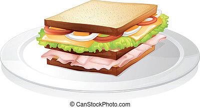 bread sandwich - illustration of bread sandwich on a white...
