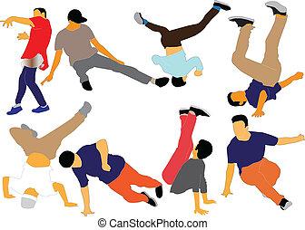 break dance collection - vector - illustration of break...