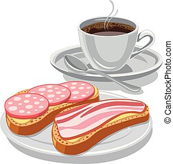 Sandwich and coffee.