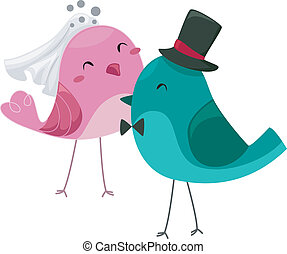 Bride and Groom Birds - Illustration of Bride and Groom...