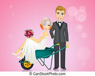 bride in the wheelbarrow