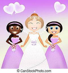 bridesmaids - illustration of bridesmaids
