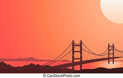 Illustration of bridge on river beautiful landscape