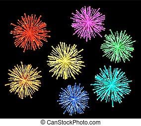 Illustration of bright abstract festive fireworks set.