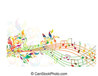 bright rainbow notes with multicolored floral - illustration...