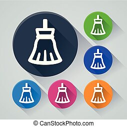 broom circle icons with shadow