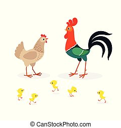 Illustration of brown chicken family isolated on white background