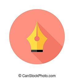 Brush Pen Flat Circle Icon