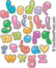 Bubbly Lettering Alphabet - Illustration of Bubbly Lettering...