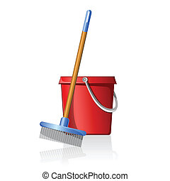 bucket with broom - illustration of bucket with broom on...