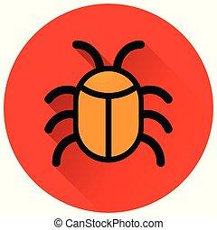 bug circle red flat icon