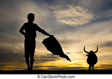 bullfighter at sunset - illustration of bullfighter at...