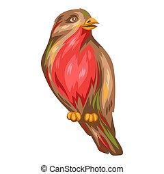 Illustration of bullfinch bird. Stylized hand drawn image in...