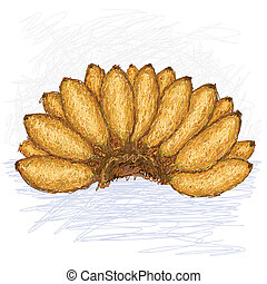 small bananas - illustration of bunch of small bananas with...