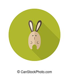 Bunny Flat Icon over Green