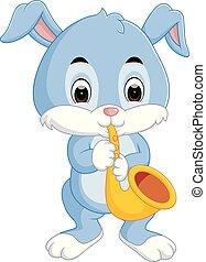 bunny playing saxophone