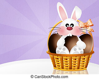 bunny with chocolate eggs - illustration of bunny with...