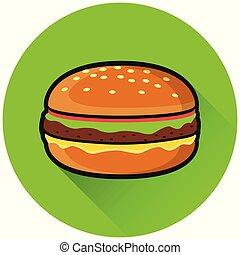 burger circle flat green icon