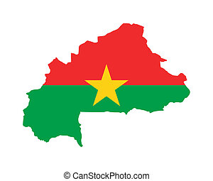 Burkino Faso flag on map - Illustration of Burkino Faso flag...